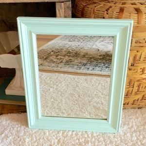 Mint Green Mirror Wood Framed Wall Hanging Painted
